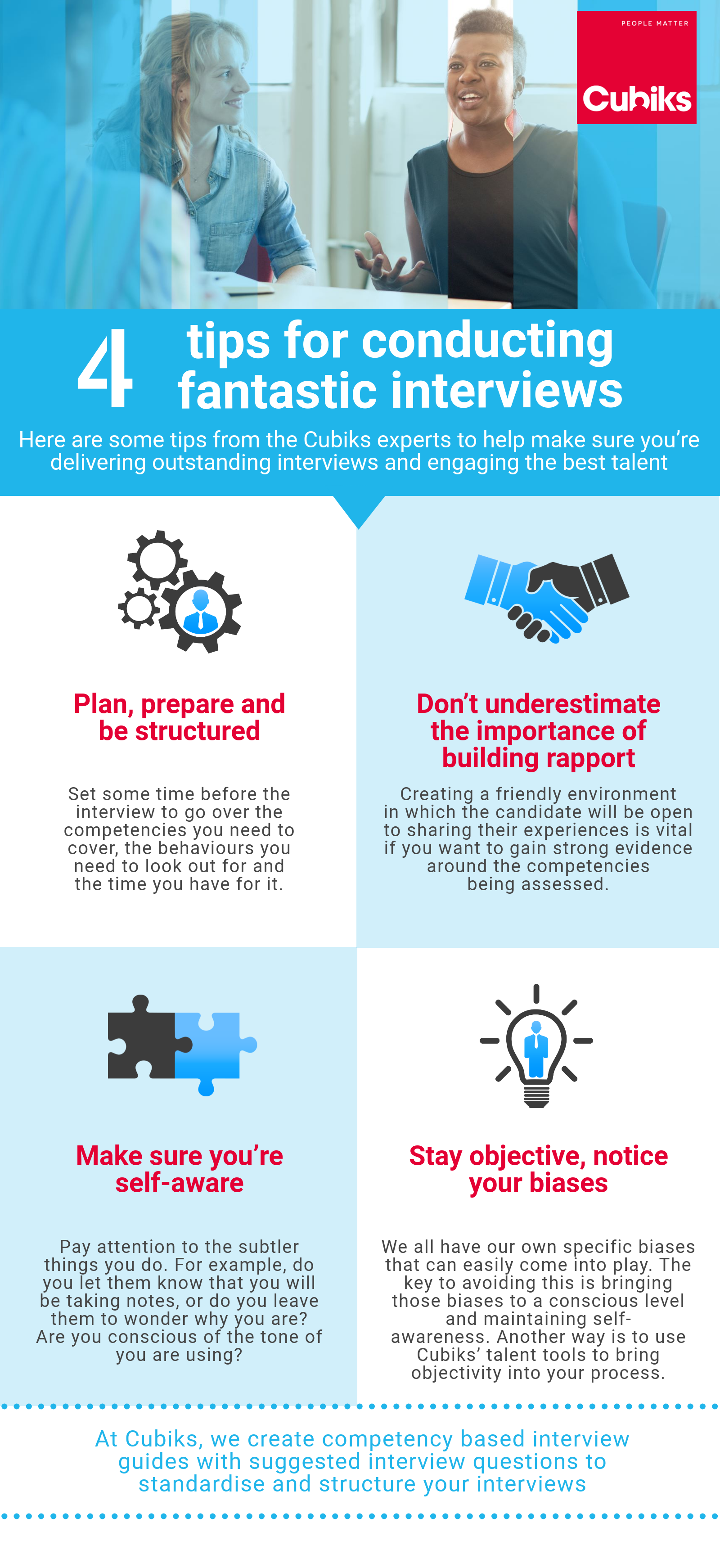 Recruitment interview tips from Cubiks experts infographic