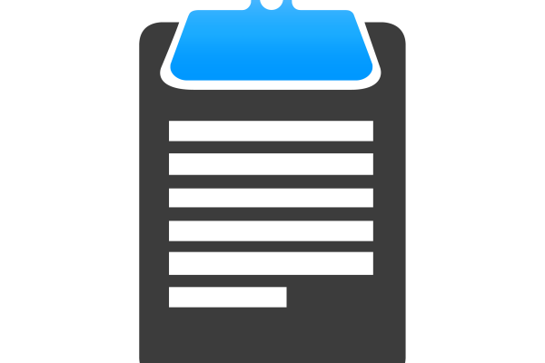 Grey and blue clipboard employee reporting icon