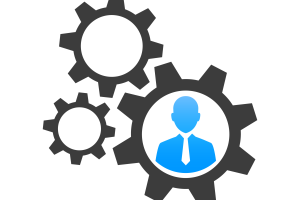 Icon of three grey cogs with blue business person inside largest cog