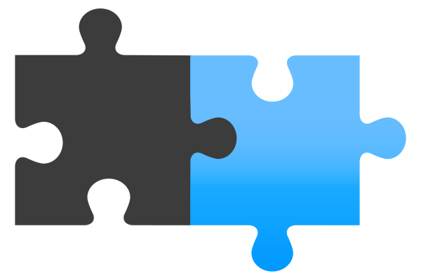 Two pieces of a jigsaw icon, one grey piece one blue piece