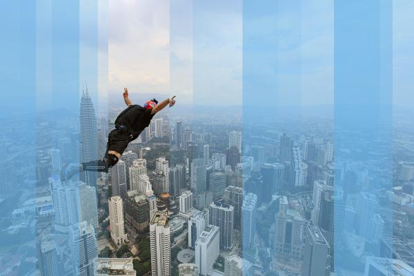 Talented base jumper with high potential jumps over Kuala Lumpa, Malaysia