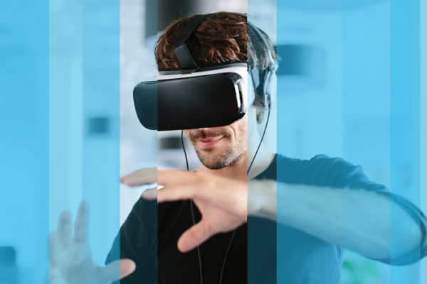 Man wears virtual reality VR headset for talent management solution assessment