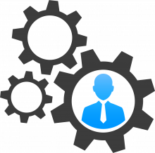 icon of gears with a business man in the middle